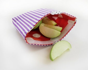 Reusable Sandwich/Snack Bag Eco Friendly purple stripes