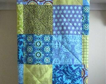 Modern Baby Quilt, Boy - Bright Blue - Crib Quilt , Blue, Lime Green, Flannel or Minky Back, Toddler Quilt, Gender Neutral, Nursery Bedding