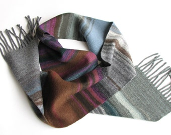 Asymmetrical Striped Woolen Scarf - Purples Browns Grays - Autumn Winter Accessories - Cozy Christmas Gift