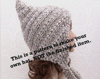 Instant download knitting hat pattern - swirl pixie hat - adult pixie hood - PDF knitting pattern - Sandy Coastal Designs