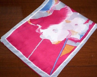 Vintage Italian Maroon and Grey Floral Paint Strokes Polyester Coat Scarf - Style - Fashion - Women
