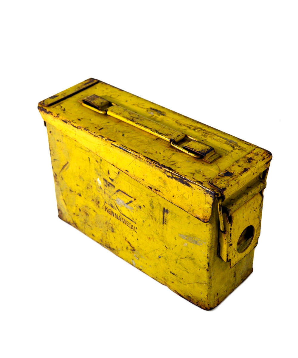 yellow kennametal industrial ammo case metal latch storage box. Black Bedroom Furniture Sets. Home Design Ideas