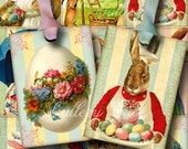 EASTER TIME Digital Collage Sheet Instant Download for Gift Tags Greeting Cards Arts and Crafts Vintage Bunny Eggs GalleryCat CS207