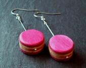 Pink Polka Dot Dangle Earrings