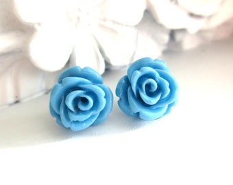 Sky Blue Carved Rose Stud Earrings