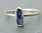 Benitoite Ring  - Raw Natural Crystal Set in Recycled Silver - Rare Mineral -  Benitoite Stack Ring