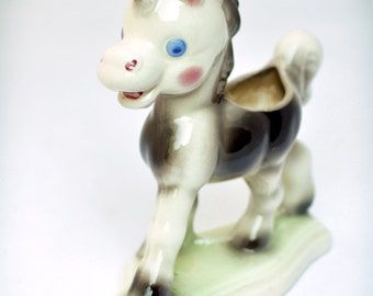 Vintage Ceramic Pony Plant holder -  50s decor kitschy retro quirky garden home flat kitchen window