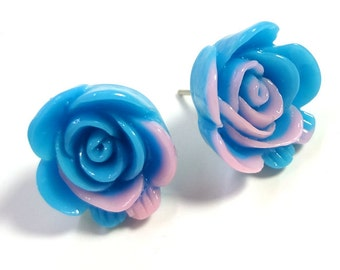 Blue and Pink Rose Post Earrings