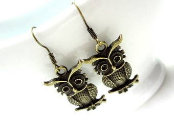 Owl Earrings, Owl Jewelry, Bird Earrings, Animal Earrings, Vintage Style, Gift for Her, Owl Charm Earrings, Owl Jewellery, Owl Earings, Cute