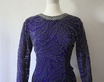 Incredible Heavily beaded 1980's Vintage Sheer Silk Long Sleeve Blouse by Jennifer - Size 6