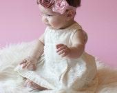 Satin Rose Headband - Olivia Antique Pink Ivory Baby Headband, Infant Headband, Girls Headbands Vintage Style Photography Prop