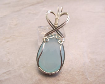 Dainty Wire Wrapped Pendant Aqua Blue Chalcedony Teardrop in Sterling Silver Wire  - One of a Kind - Wirewrapped Wire-Wrapped