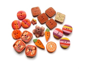 Polymer clay buttons, Orange mix, set of 20 - carrots orange slices - Terracotta embellisments - handmade in polymer clay -  scrapbooking