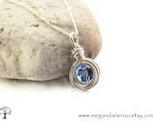 Sapphire Blue / September Birthstone Necklace - simplicity - Swarovski Crystal and Argentium Silver