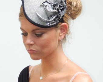 SALE silvergray and black headpiece hand beaded on aliceband