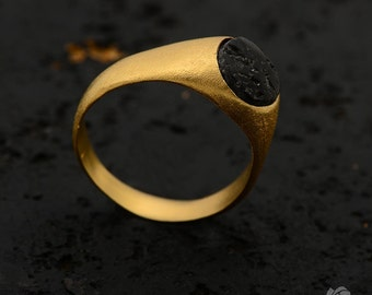 Black Lava Ring, 18k gold plated - natural stone, textured, raw beauty, men's ring, pinky ring, handmade ring, unique