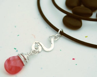 Sterling Silver Cherry Quartz Drop Pendant - handmade