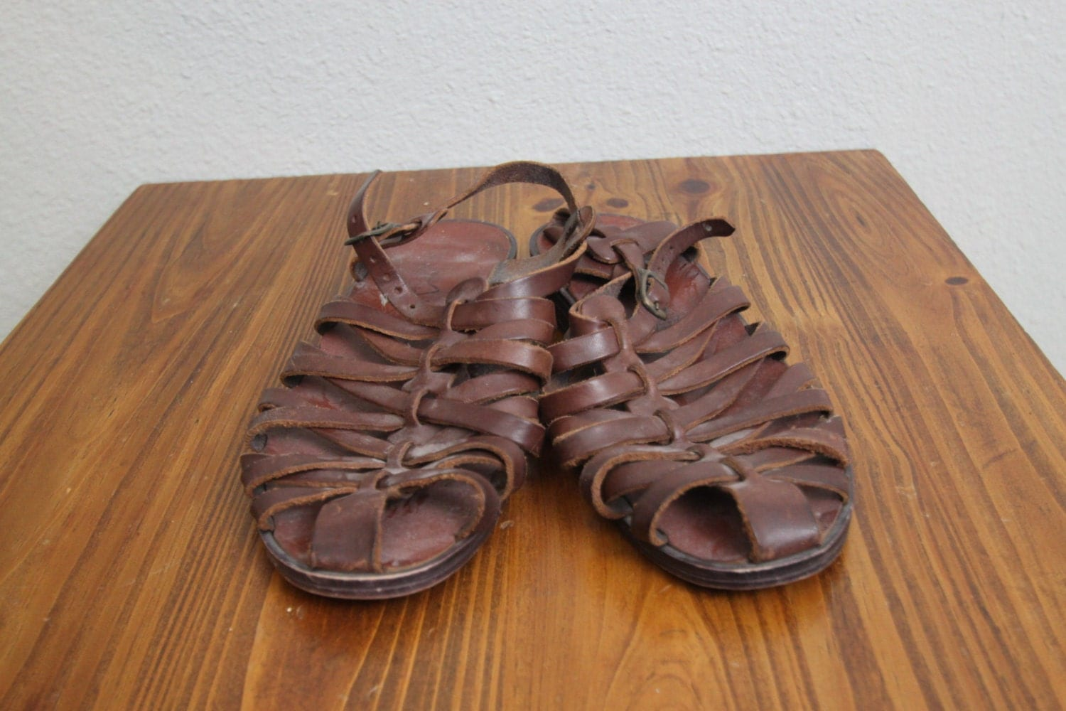 Vintage 1980s Leather Jesus Sandals 80s Flat Leather Brown
