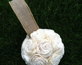 SOLA flower kissing ball with Burlap and pearls