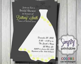 Yellow/Gray Wedding Dress Bridal Shower Invitation (Printable Digital File)