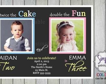 joint birthday  etsy, Birthday invitations