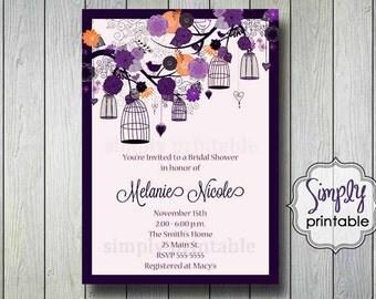 Purple Orange Birdcage Shower Invitation