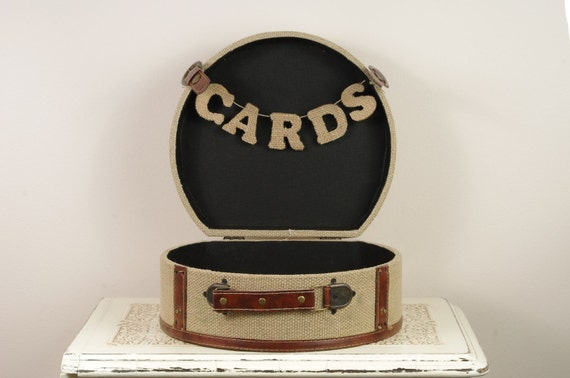 Medium Burlap Card Box for Wedding - Trunk, travel style Card Box
