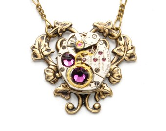 FEBRUARY Steampunk Necklace AMETHYST Steampunk Watch Necklace Birthstone Necklace Steampunk Wedding Steampunk Jewelry Victorian Curiosities