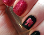 Pink Glitter Barbie Inspired Nail Decals- Set of 50- Nail Vinyls