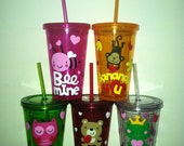 Personalized Valentine's Day Tumblers- Great Party Favor, Valentines Day Party, Personalized Tumbler