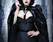 Black PVC Victorian cape Shrug by Artifice Clothing in size small/XS (photoshoot sample)