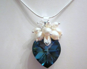 Bermuda Blue Swarovski Heart Crystal and Pearls Pendant and Earrings, Perfect for a Wedding, Formal or Prom