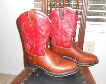 Men's Brown and Red Roper Cowboy Boots by Double H Men's size 9 Women's size 10 1/2