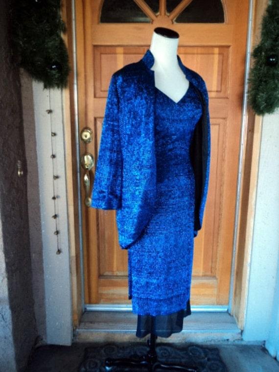 Sale 40 Percent Off Vintage Dress Tunic 60s KILLER Royal Blue Metallic Bombshell Pant Suit Jacket VLV 36B Lilli Diamond