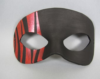 Black and Red Striped Leather Masquerade Mask, Unisex