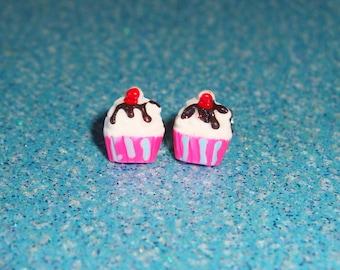 Tiny Hot Fudge Sundae Ice Cream Earrings