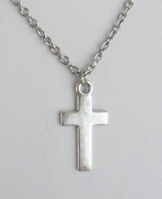 Simple Cross Necklace in Tibetan Silver by BelieveInGoodKarma