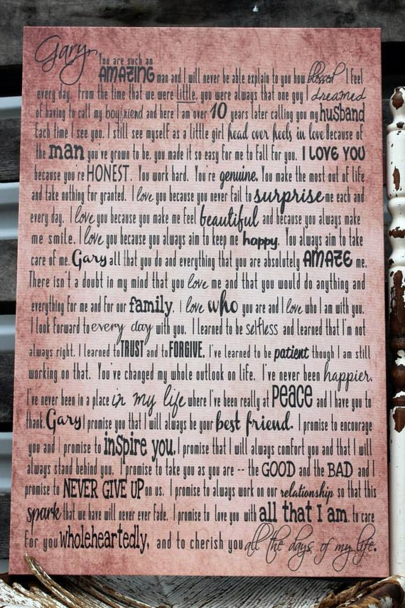 Personalized Wedding Vows On Canvas Vows By MadiKayDesigns On Etsy