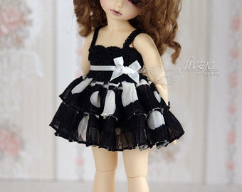 Polkadot black dress for TINY bjd LittleFee