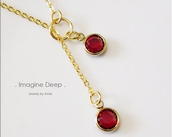 50% off SPECIAL - Red Lariat Necklace - Gold Plated Ruby-Like Swarovski Crystal