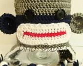 Sock Monkey Hat Striped for Boy Newborn to Child sizes Beanie Animal