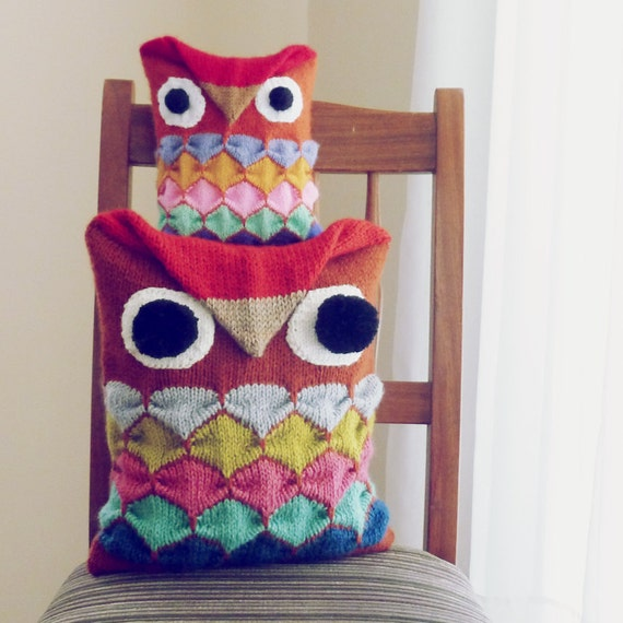 Items similar to Owl toy knit pattern & pillow animal Owl PDF - decorative cushion kids ...