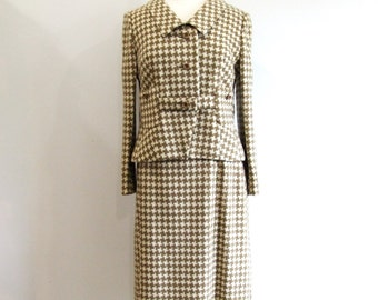 1960s Womens Suit Vintage 60s Wool Houndstooth Two Piece Suit NOS - S / M