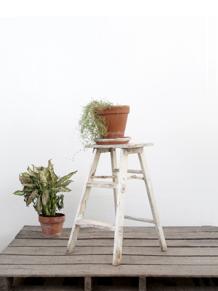 Vintage Step Ladder White Wood Stool