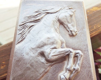 HORSE SOAP, Just Ride - Leather -Shimmered Horse Soap, Scented in Cool Citrus Basil, Vegetable Based, Handmade