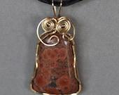 Poppy Jasper Gold Fill Wirewrap Pendant, ON SALE