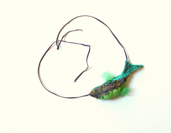 GREEN FISH, Funky Jewelry, Silk Pendant, Emerald green,Textile Necklace