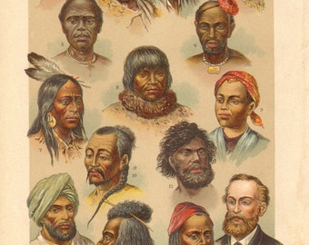 1901 Humans, Human Races, Races of People Original Antique Chromolithograph to Frame