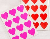 48 Heart Label Stickers- Neon Pink