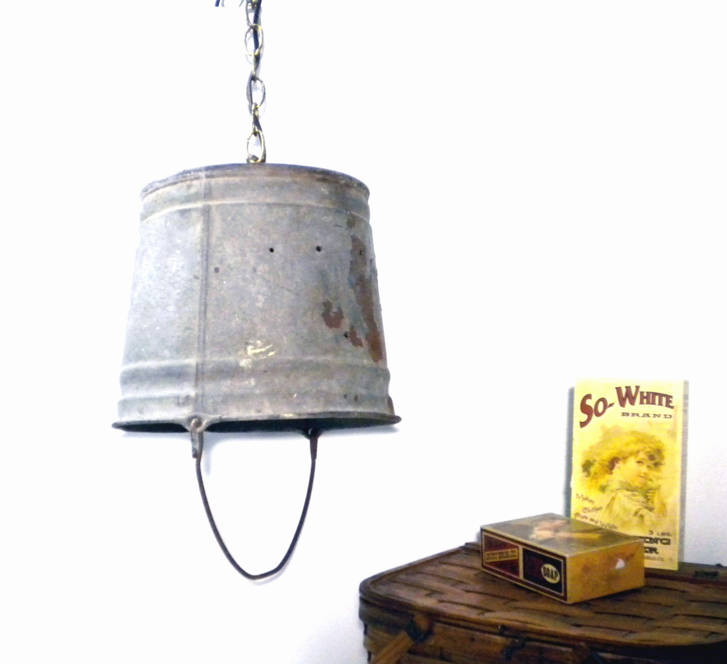 Vintage Swag Lamp Rustic Galvanized Metal Bucket Shade Light